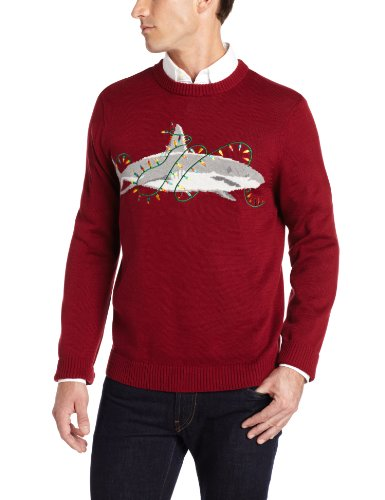 alex stevens mens sharky ugly christmas sweater rugby red large - Ugly Christmas Sweater Dinosaur
