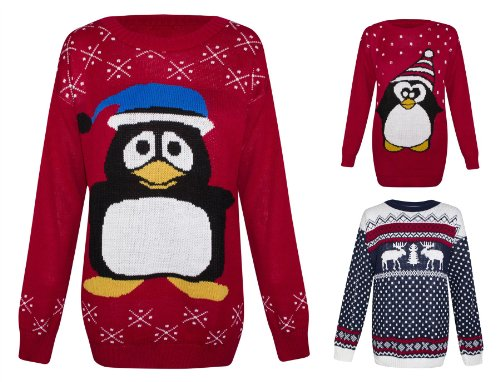excellent quality christmas novelty jumpers penguin snowman snowflake reindeer prints long sleeve regular fit approx length from shoulder 275 70cm