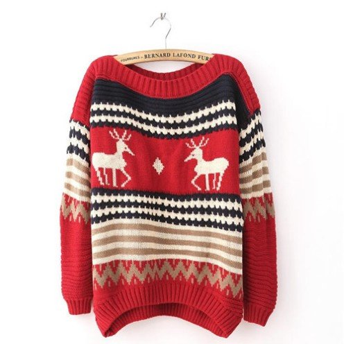 Christmas Deer Pattern Knitted Pullover Sweaters for Women - Ugly Christmas S...