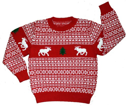 childrens holiday reindeer christmas sweater in red by skedouche - Childrens Ugly Christmas Sweaters