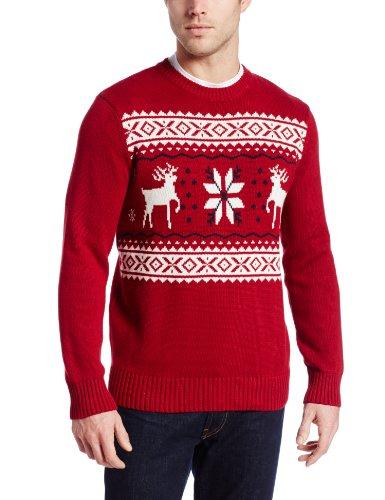 Dockers Men's Reindeer Motif Ugly Christmas Sweater, Red, Large ...