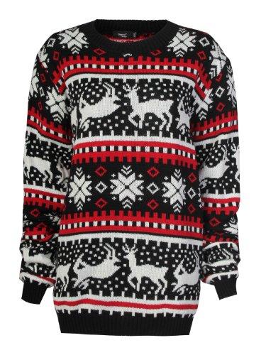 Forever Women's Aztec Reindeer Print Snowflake Christmas Jumper Cardigan (ML-10/12, Black Jumper)