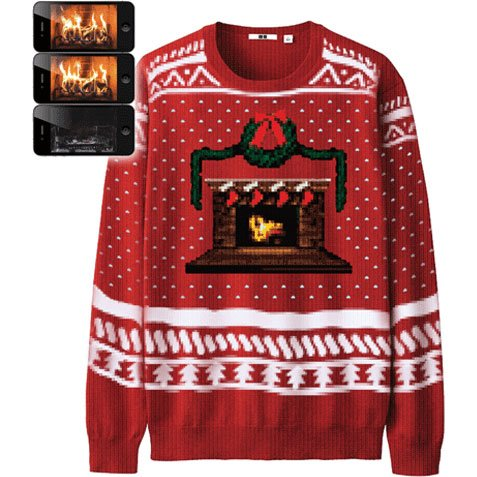 Morphsuits Digital Dudz Fireplace Ugly Christmas Sweater Red Medium Ugly Christmas