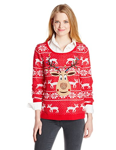 isabellas closet womens sequin rudolph on fair isle ugly christmas sweater redwhite large - Womens Christmas Sweaters