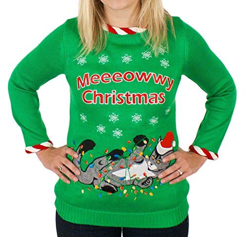 Ugly Christmas Sweater Cat.Women S Lighted Tangled Cat Sweater In Green By Festified