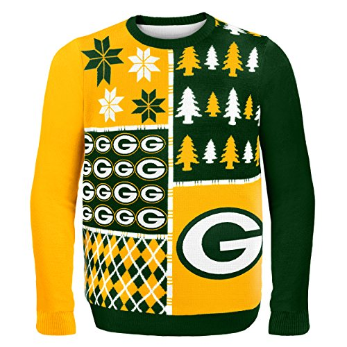 nfl green bay packers busy block ugly sweater large green - Nfl On Christmas 2014