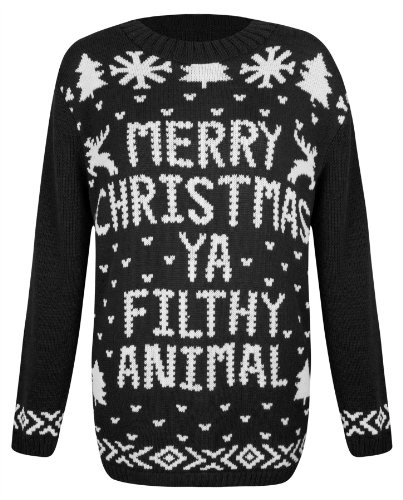 excellent quality christmas novelty jumpers penguin snowman snowflake reindeer prints long sleeve regular fit approx length from shoulder 275 70cm - Black Christmas Sweater