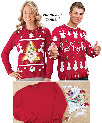 collections etc diy ugly christmas sweater kit mens red medium - Diy Christmas Sweater