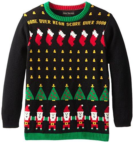 Alex Stevens Big Boys Ugly Christmas Santa Invaders Video Game
