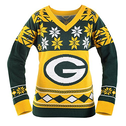 new products 7197f 32665 NFL Green Bay Packers Women's V-Neck Sweater, X-Large, Green ...