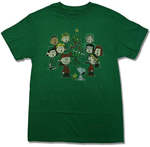 peanuts comic snoopy christmas holiday mens t shirt group caroling x large