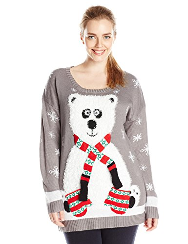 derek heart juniors plus size panda bear pull over tunic ugly christmas sweater grey 3x