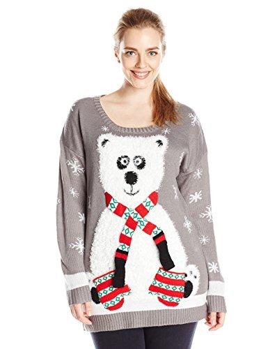 derek heart juniors plus size panda bear pull over tunic ugly christmas sweater grey 3x
