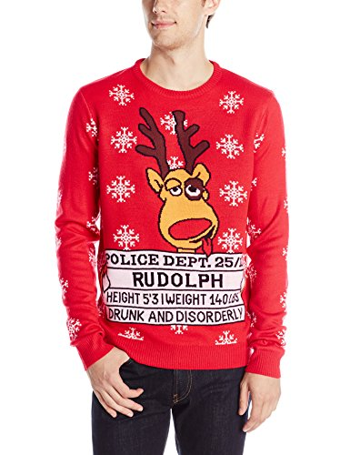 double jacquard graphic christmas sweater featuring famous holiday reindeer
