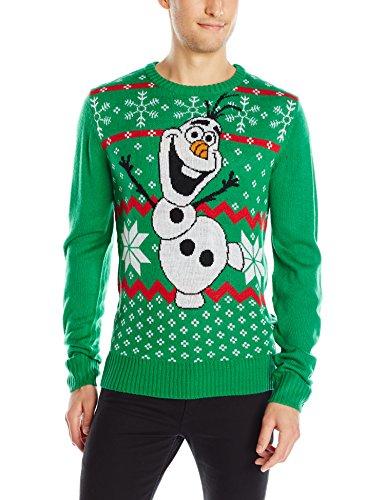 Disney Ugly Christmas Sweater.Disney Men S Olaf Sweater Green Medium Ugly Christmas