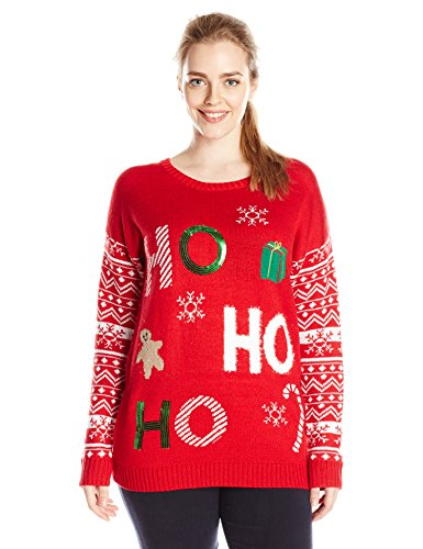 Derek heart junior 39 s plus size ho jacquard pull over ugly for Over the top ugly christmas sweaters