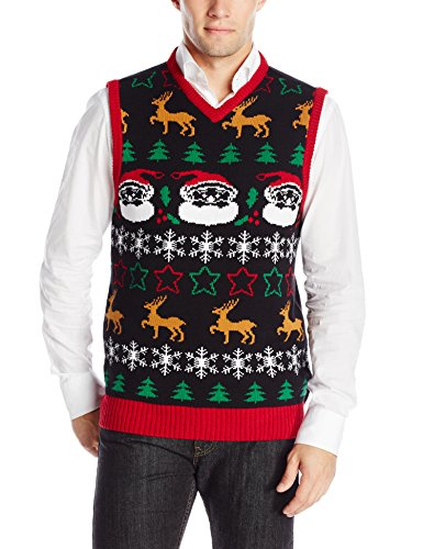 The ugly christmas sweater kit men 39 s all over vest black for Over the top ugly christmas sweaters