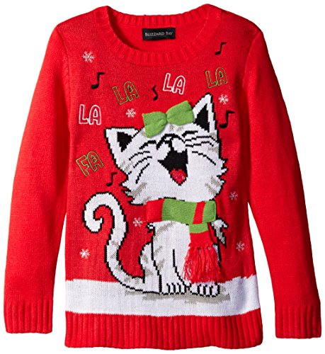 Blizzard Bay Girls Happy Kitty Christmas Sweater Ugly Christmas