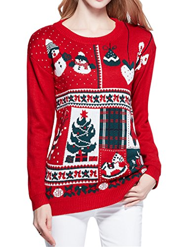 women vintage christmas celebrate ugly reindeers snowman knit sweater - Vintage Christmas Sweater