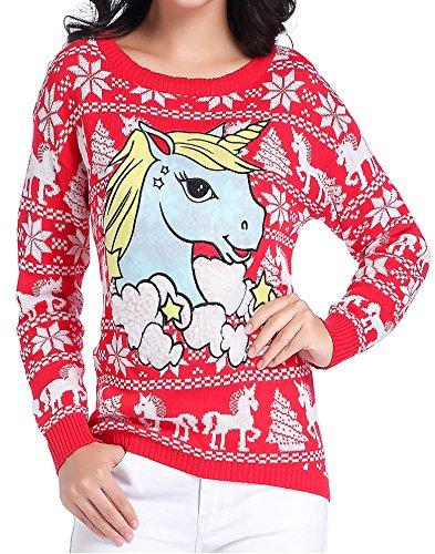 Ugly Christmas Sweater Cartoon.V28 Women Girl Ugly Christmas Cute Unicorn Star Cartoon