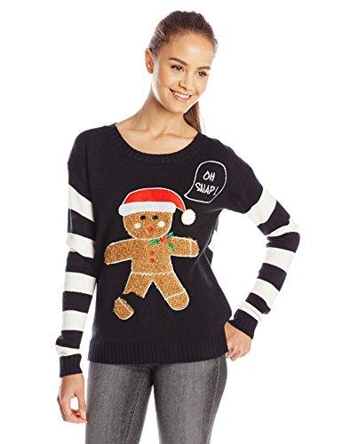 blizzard bay juniors christmas oh snap 3d gingerbread man sweater blackwhite medium