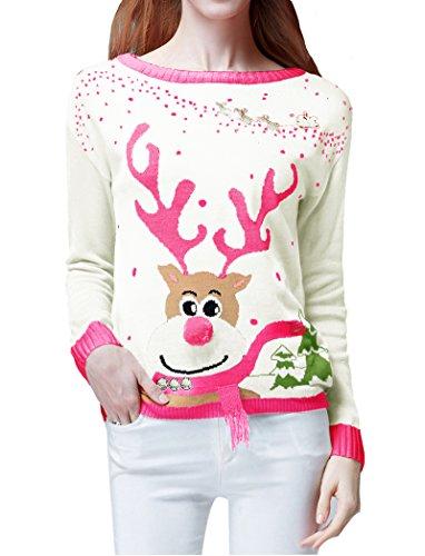 Womens Ugly Christmas Sweater V28 Ladies Girls Cute Reindeer 3d