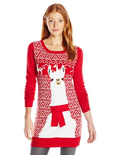 Blizzard Bay Juniors Llama Tunic Sweater, Christmas Red, S - Ugly ...