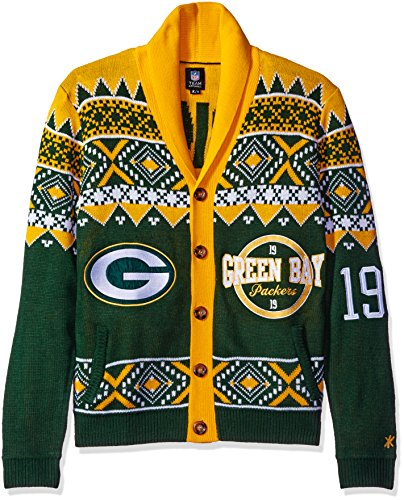 timeless design 3e9c4 270e2 NFL Green Bay Packers Men's 2015 Ugly Cardigan Sweater, X ...
