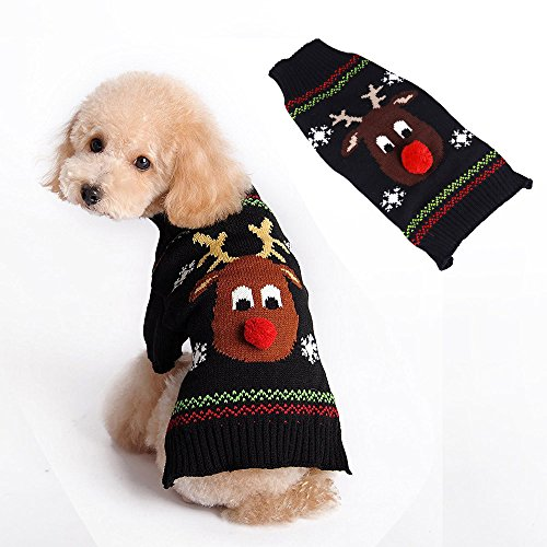 Matching Ugly Christmas Sweaters For Dog And Owner.Pet Vintage Ugly Christmas Themed Holiday Festive Reindeer