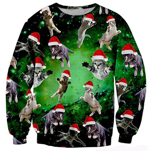 Cat Christmas Sweater.Raisevern Galaxy Nebula Ugly Christmas Cat Meow Santa Print