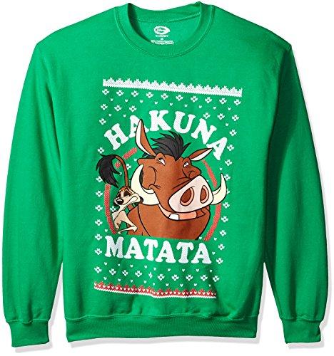 disney mens lion king hakuna matata ugly christmas sweatshirt kelly green x large - Disney Christmas Sweaters