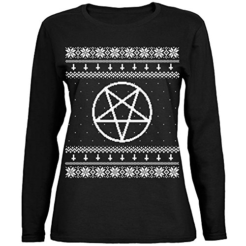 its just not christmas without a satanic pentagram ugly christmas sweater this old glory design is printed on a 100 cotton long sleeve womens t shirt