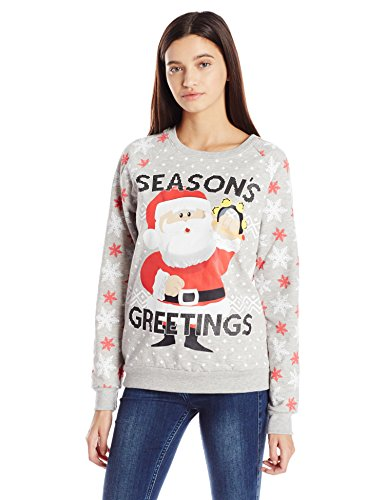 Freeze juniors licensed santa claus all over printed ugly for Over the top ugly christmas sweaters