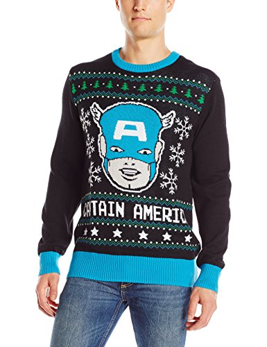 Marvel Mens Captain America Sweater Black Small Ugly Christmas