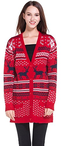 0a52957ce26 Womens Oversized Christmas Reindeer Cardigan (X-Large, Red2 Reindeer ...