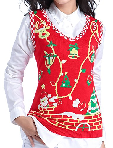 ugly christmas sweater v28 women girl cute vintage knit knitted sweater vest x small penguin black