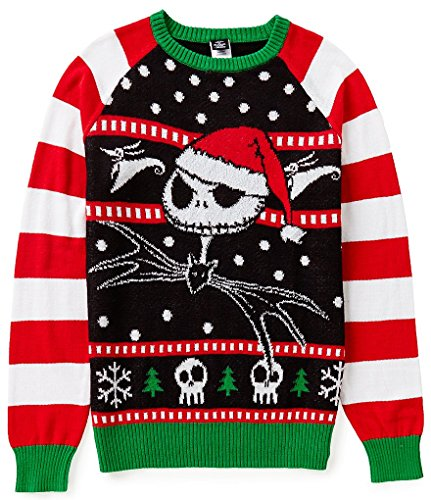 nightmare before christmas jack skellington in a santa hat print sweater classic and traditional ugly christmas sweater it is a unisex style - Nightmare Before Christmas Santa Hat