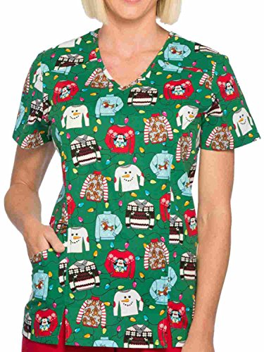 45a996233b6 Scrubstar Womens Green Ugly Christmas Sweater Holiday Scrub Top XS ...