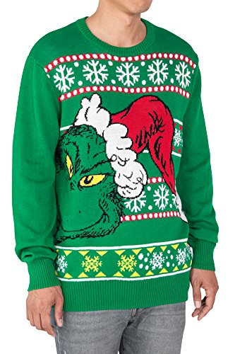 dr seuss mens sweater grinch who stole christmas santa hat ugly print large - Grinch Ugly Christmas Sweater