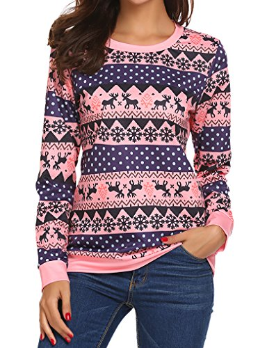 womens ugly christmas reindeer snowflakes printed outside sweater pullover pink m - Pink Ugly Christmas Sweater
