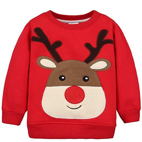 bb35828e5e0 Baby Boys Girls Winter Warm Pullover Christmas Reindeer Crewneck ...