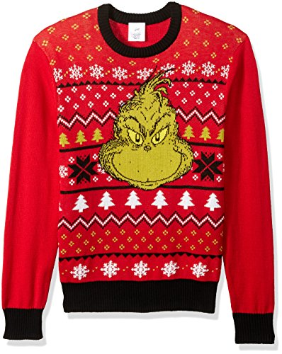 dr seuss mens grinch face ugly christmas sweater redblack large