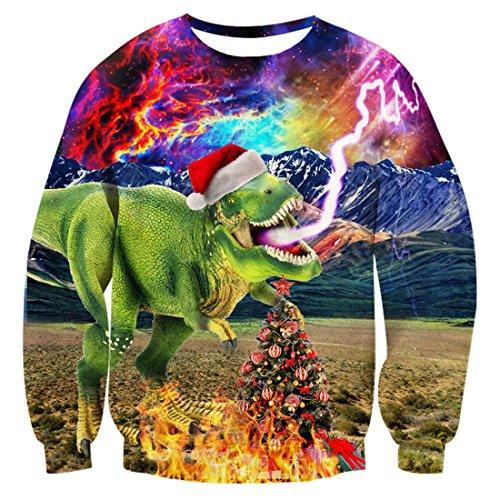 uideazone men women ugly christmas sweatshirts printed galaxy dinosaur long sleeve shirt plus size - Ugly Christmas Sweater Dinosaur