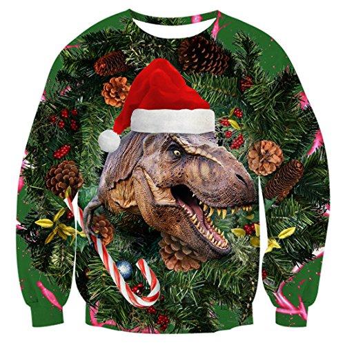 uideazone men women 3d printed christmas dinosaur pullover sweatshirts ugly x mas shirt - Ugly Christmas Sweater Dinosaur