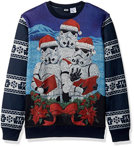 star wars mens the three storm troopers holiday pullover blue s