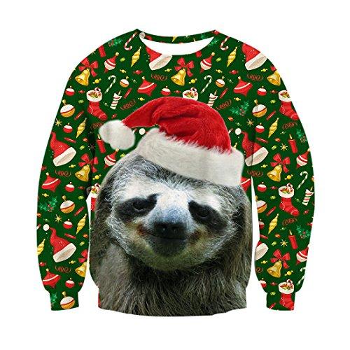 Sloth Ugly Christmas Sweater.Raisevern Unisex Ugly Christmas Sloth Decoration Print Cute
