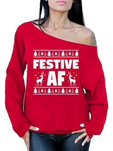 aae6c62d92 Awkward Styles Festive AF Sweatshirt Festive AF Sweater Ugly Christmas Off  Shoulder Top Red XL