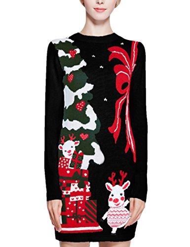 Women Christmas Sweater Dress.Women Christmas Sweater V28 Ugly Cowl Neck Cute Reindeer