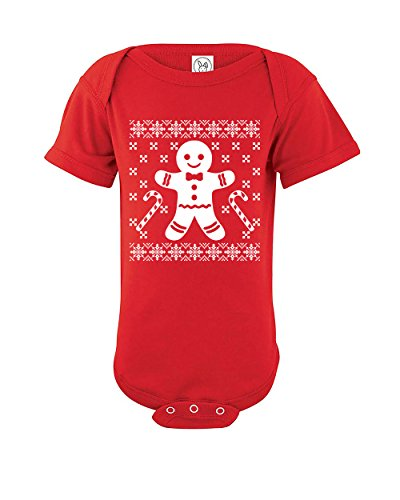 gingerbread man funny baby ugly christmas sweater onesie xmas holiday bodysuit red 0 3 months
