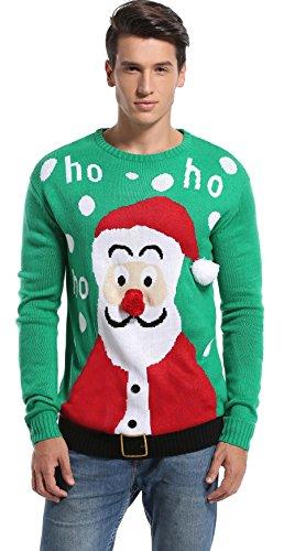 f9daff3ca611 Daisysboutique Men's Christmas Holiday Santa Sweater Cute Ugly Pullover  (Large, Santa-HoHoHo-Green)